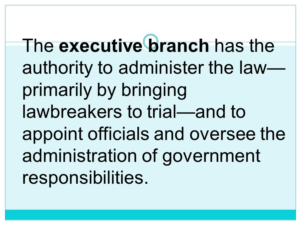 The executive branch has the authority to administer the law—primarily by bringing lawbreakers to trial—and to appoint officials and oversee the administration of government responsibilities.