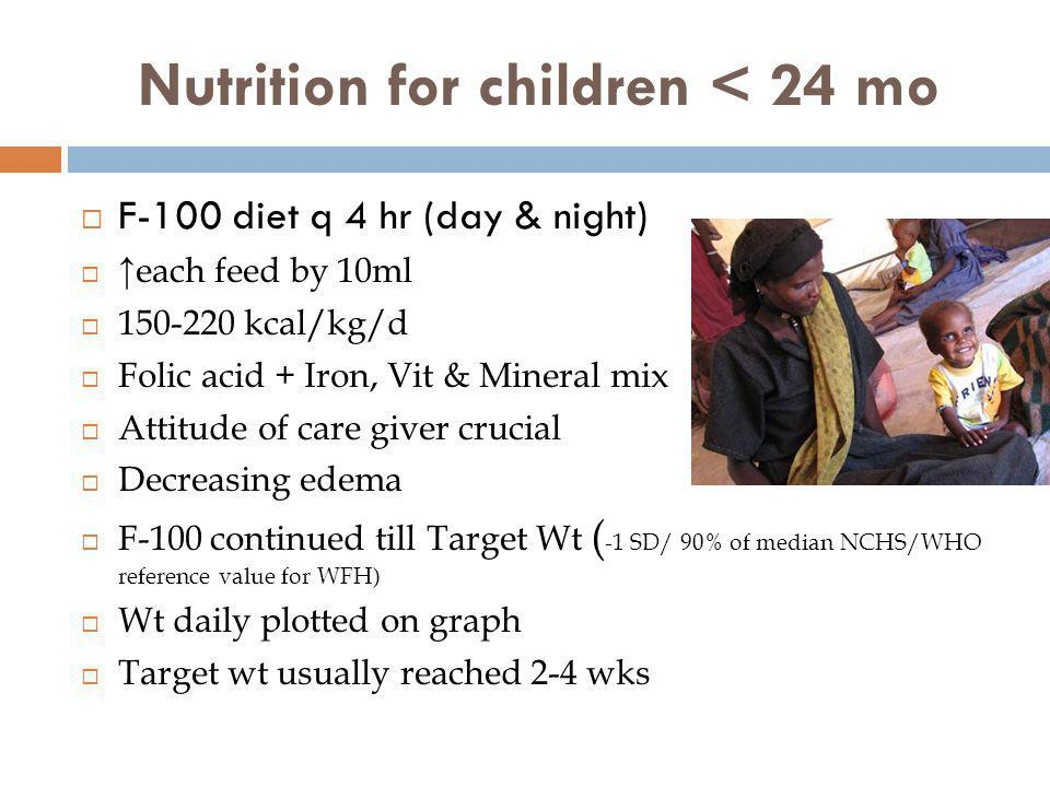 Nutrition for children < 24 mo