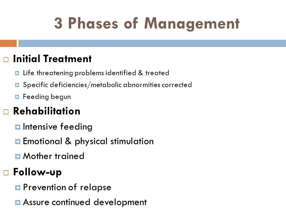 3 Phases of Management Initial Treatment Rehabilitation Follow-up