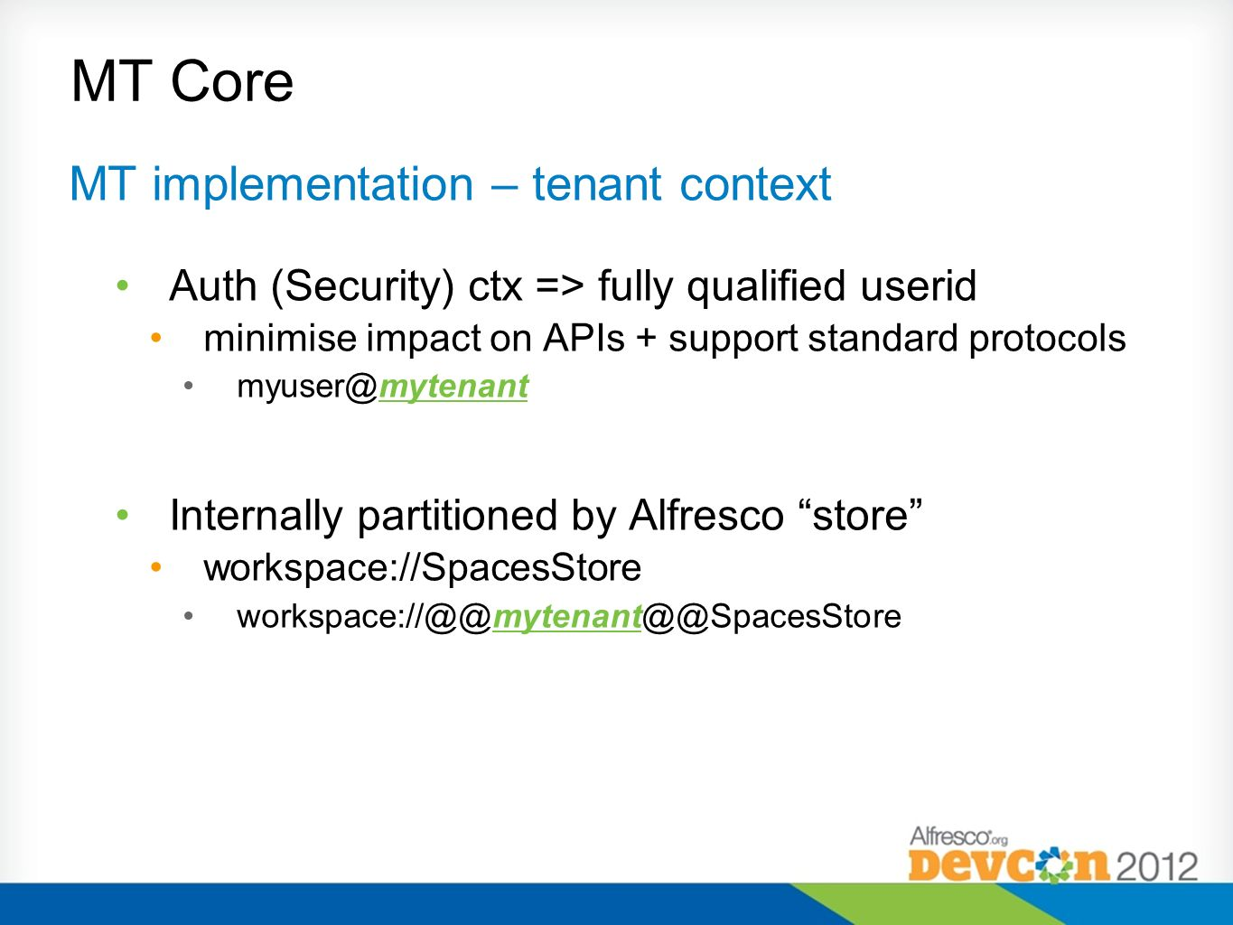 MT Core MT implementation – tenant context