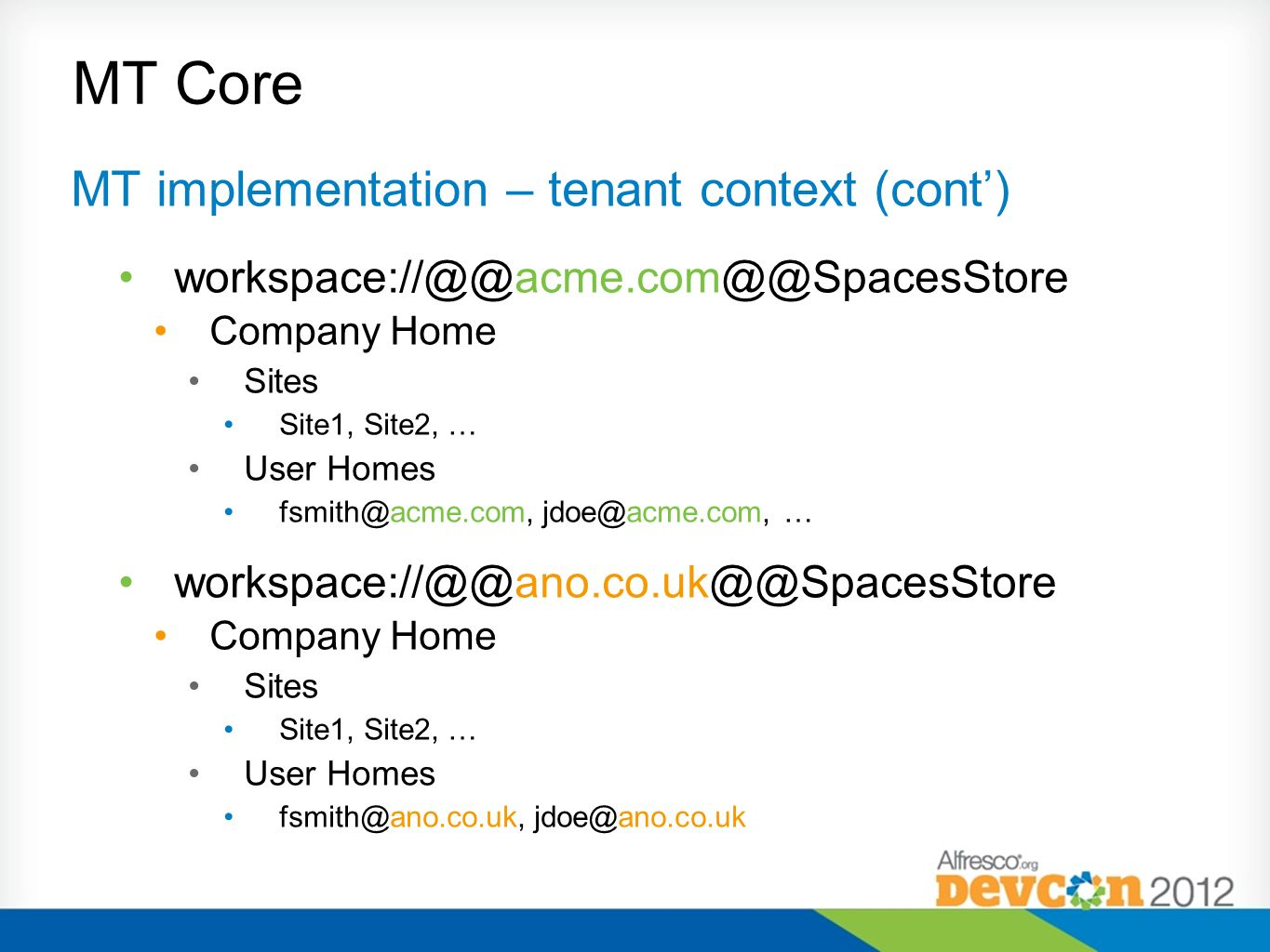 MT Core MT implementation – tenant context (cont')