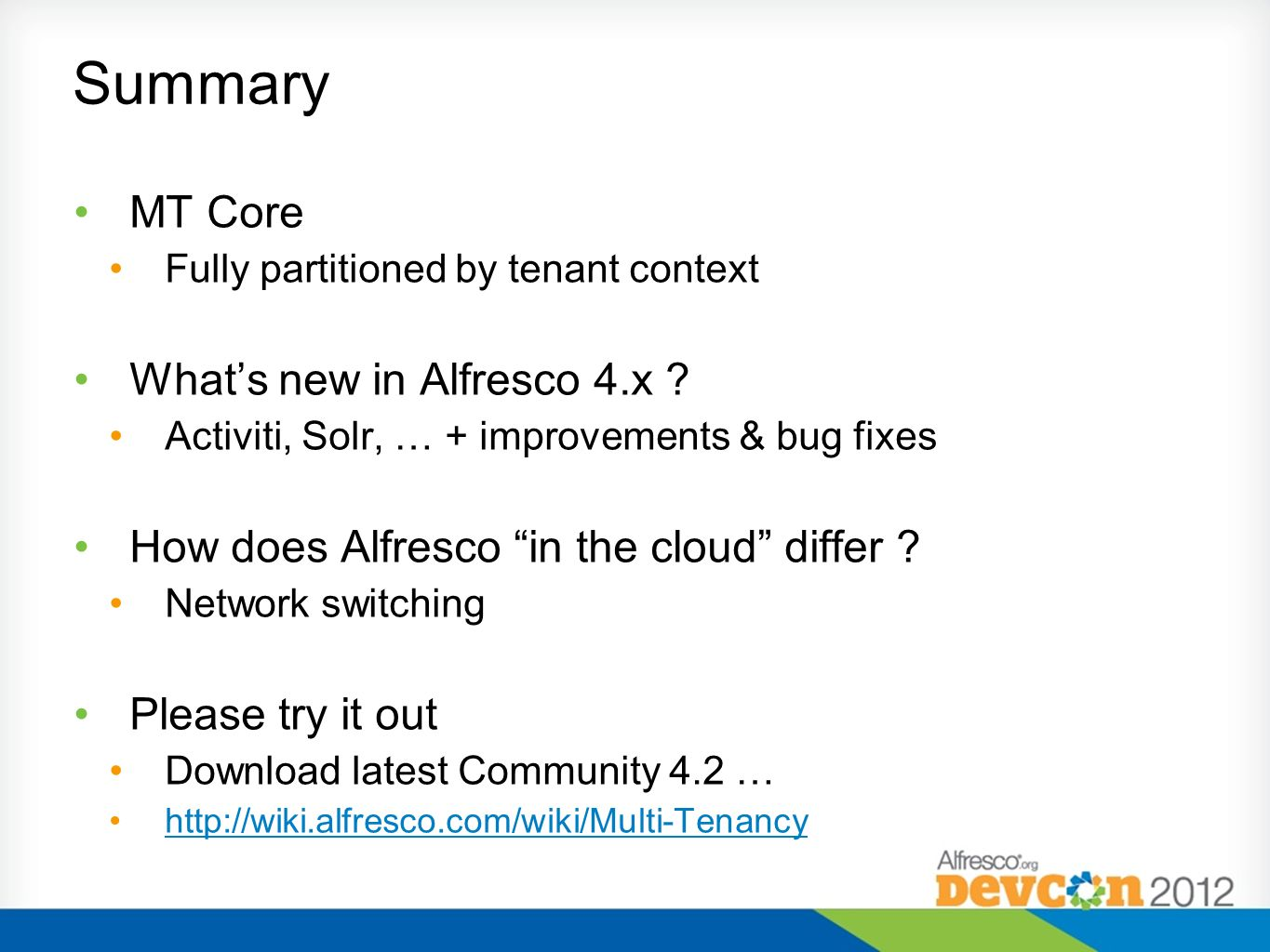 Summary MT Core What's new in Alfresco 4.x