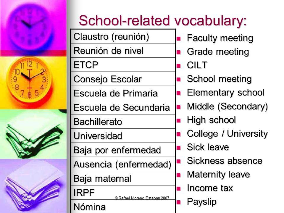 School-related vocabulary: