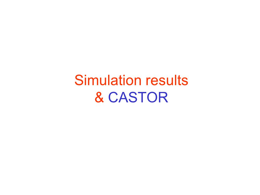 Simulation results & CASTOR