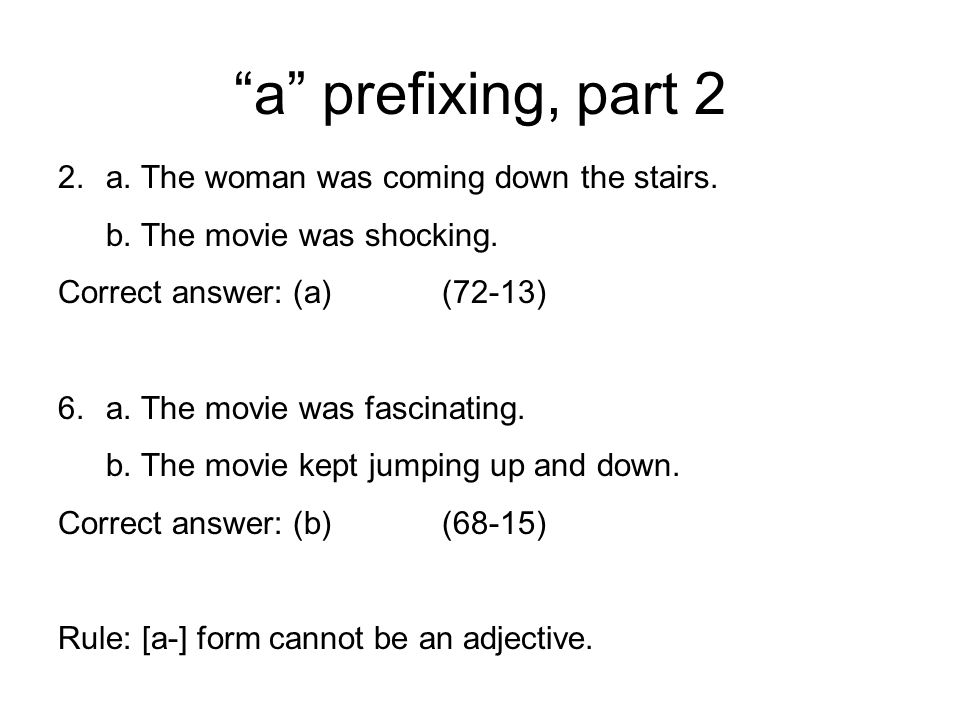 a prefixing, part 2 a. The woman was coming down the stairs.