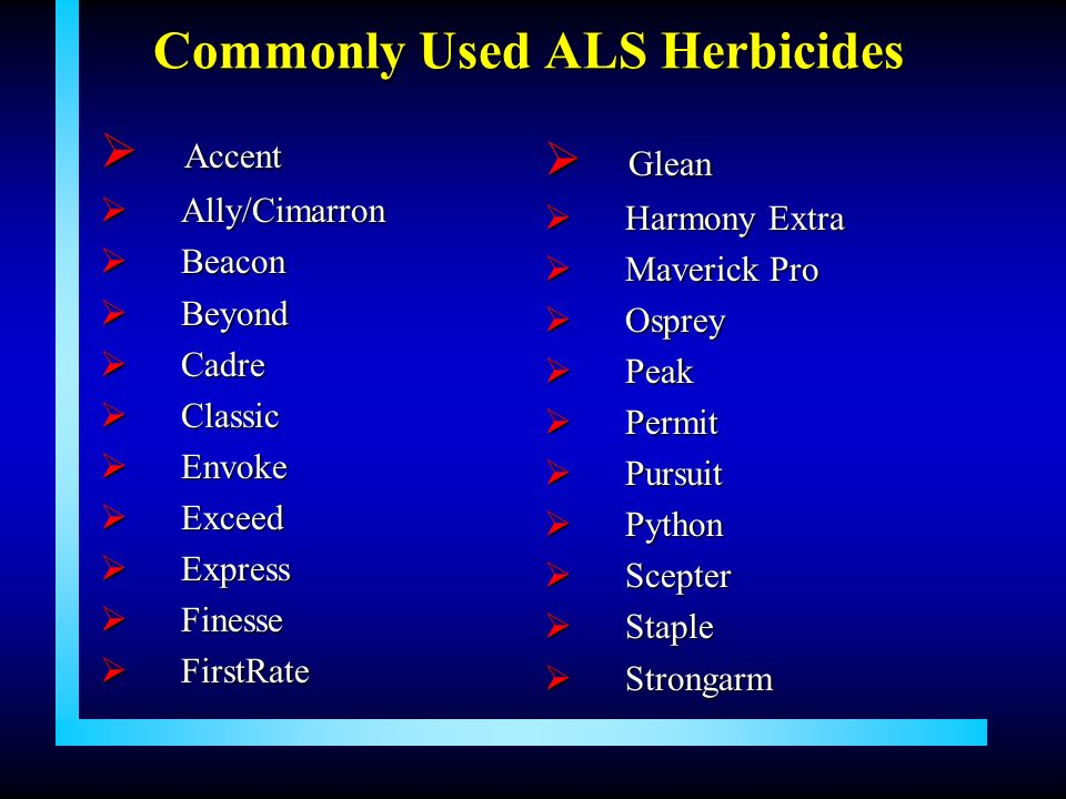 Commonly Used ALS Herbicides