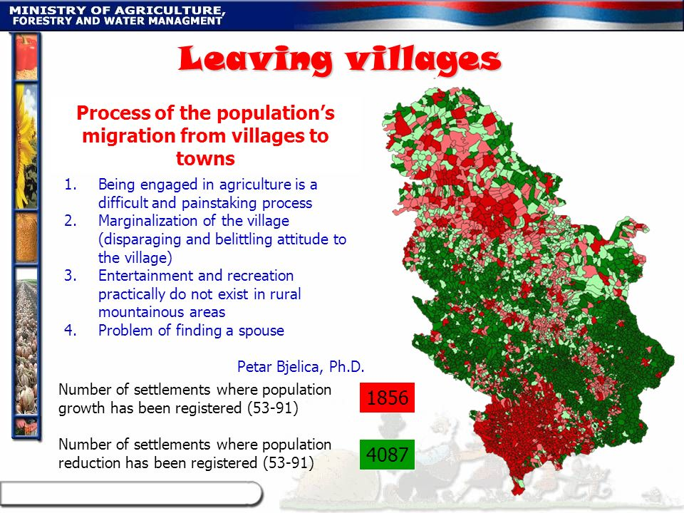 Process of the population's migration from villages to towns