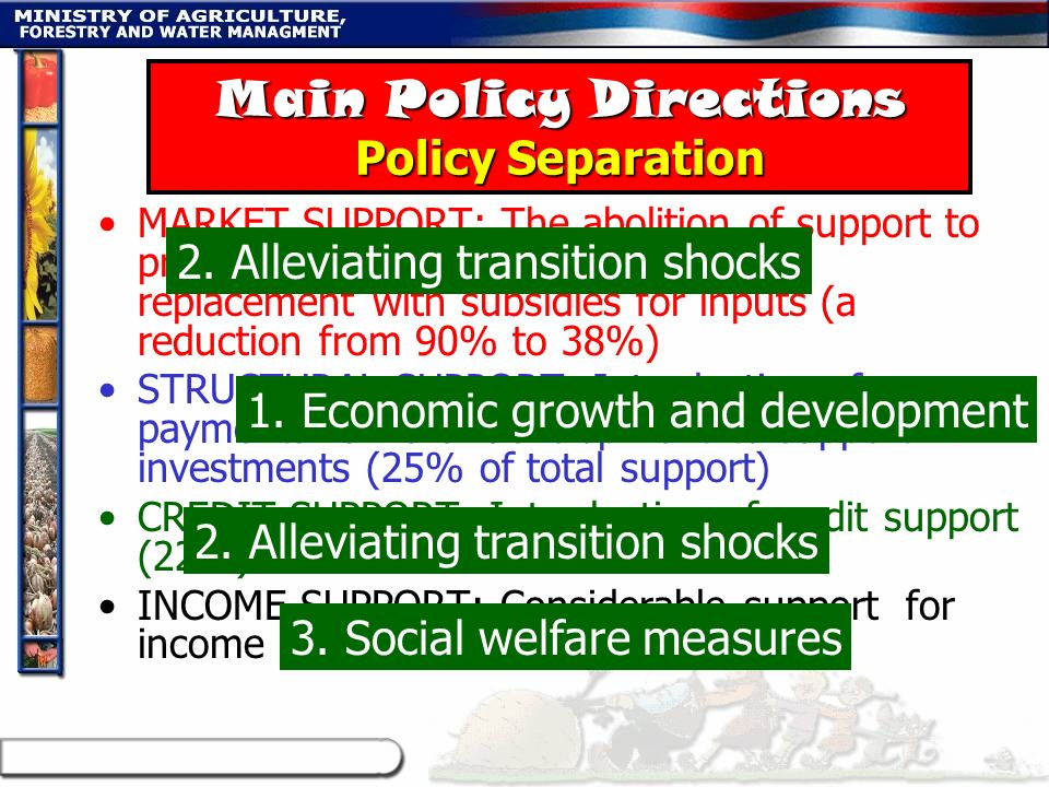 Main Policy Directions Policy Separation