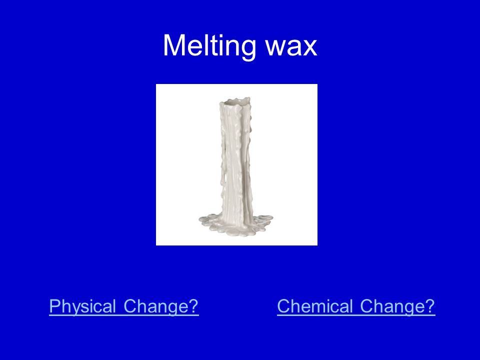 Melting wax Physical Change Chemical Change