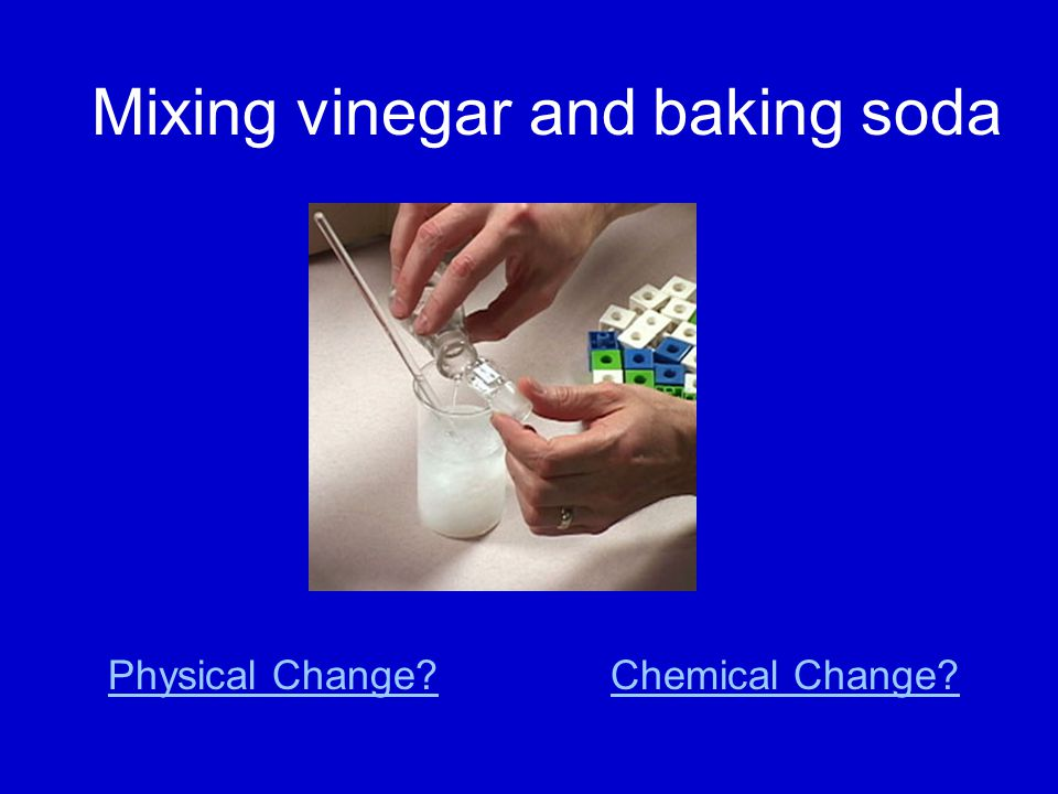 Mixing vinegar and baking soda