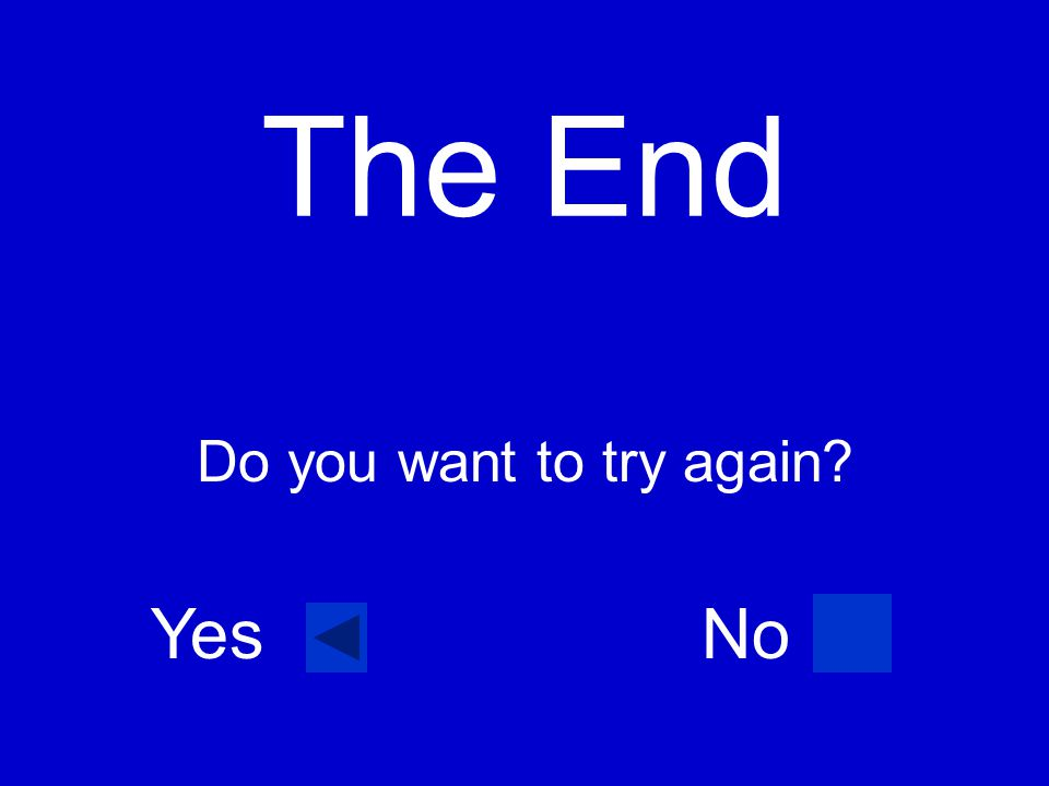The End Do you want to try again Yes No
