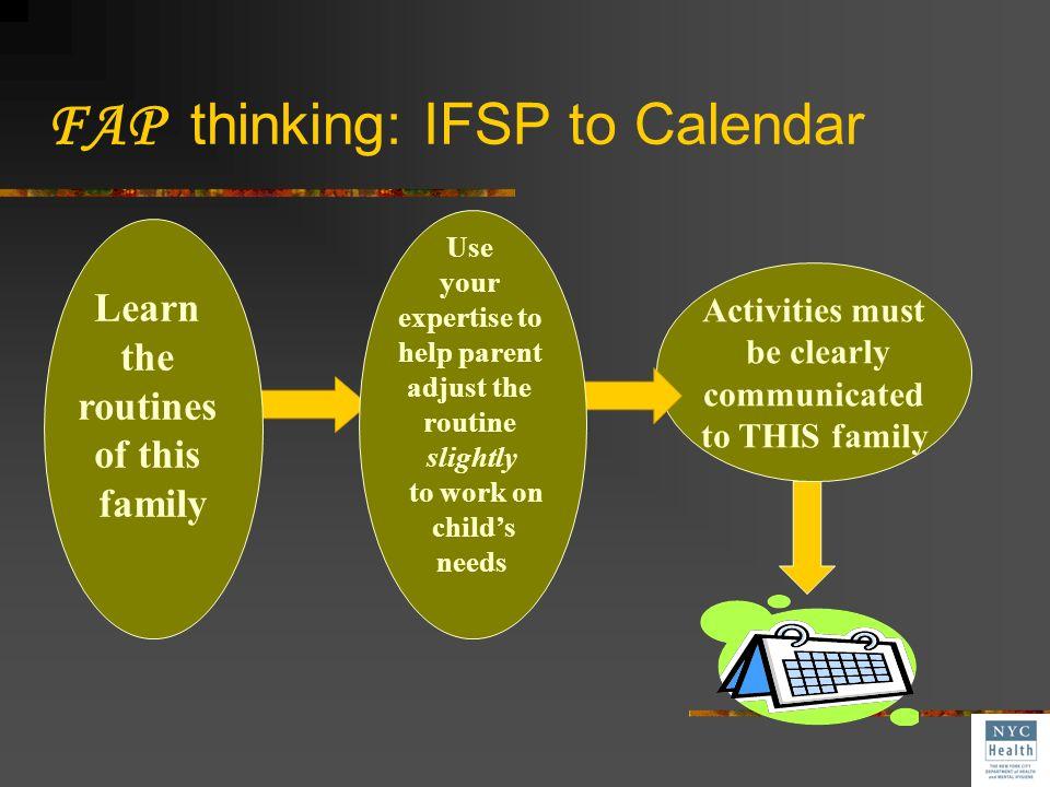 FAP thinking: IFSP to Calendar