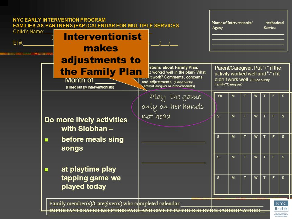 Interventionist makes adjustments to the Family Plan