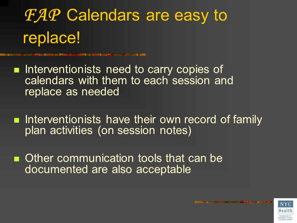 FAP Calendars are easy to replace!