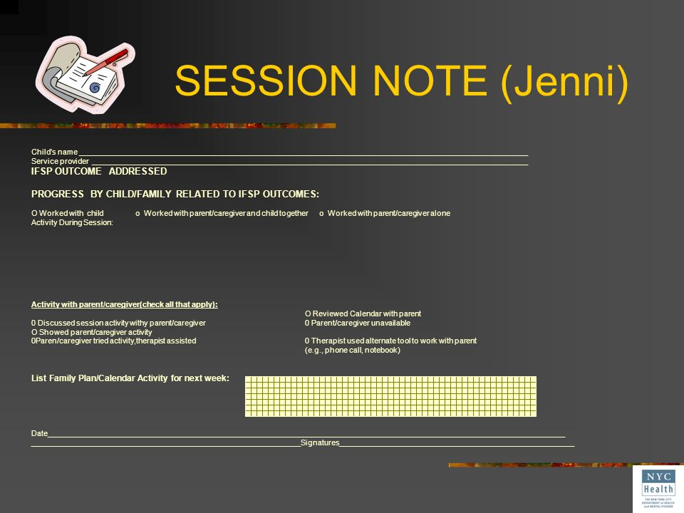 SESSION NOTE (Jenni) IFSP OUTCOME ADDRESSED