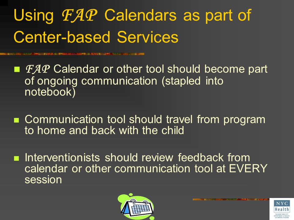 Using FAP Calendars as part of Center-based Services