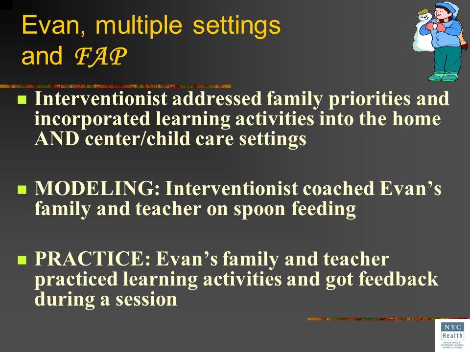 Evan, multiple settings and FAP