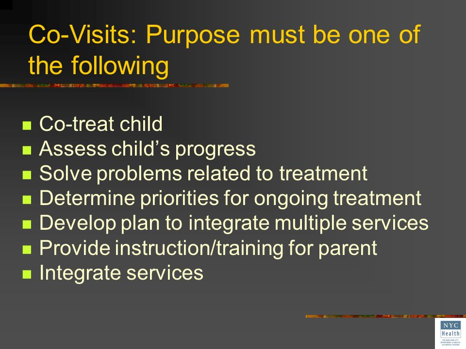 Co-Visits: Purpose must be one of the following