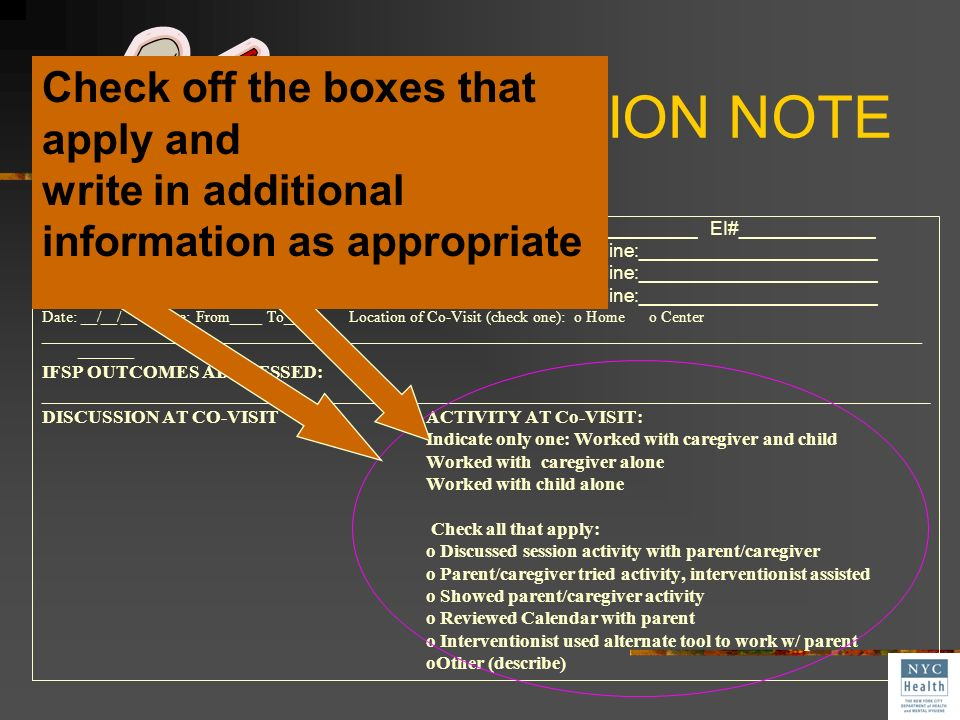 Co-Visit SESSION NOTE Check off the boxes that apply and
