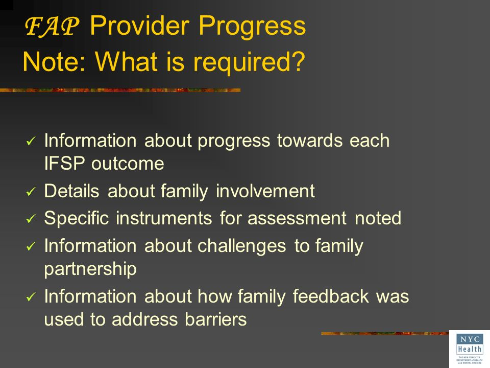FAP Provider Progress Note: What is required