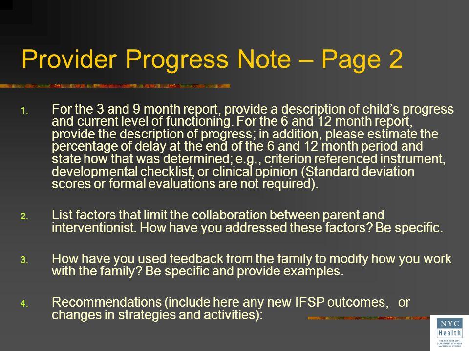 Provider Progress Note – Page 2
