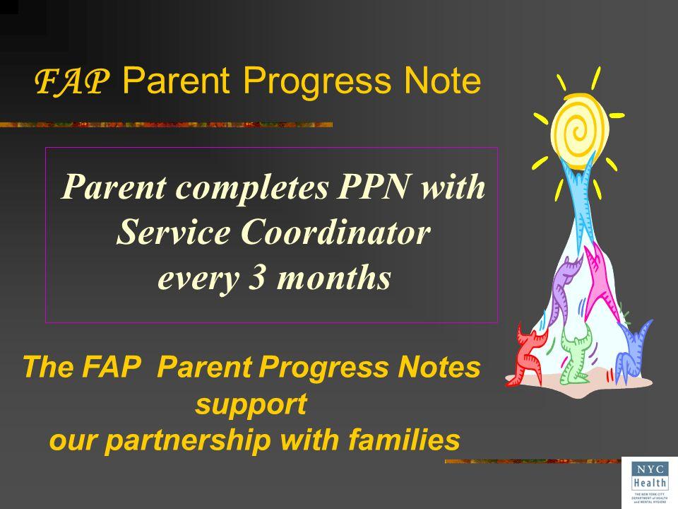 FAP Parent Progress Note