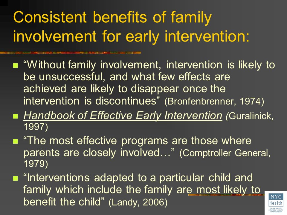 Consistent benefits of family involvement for early intervention: