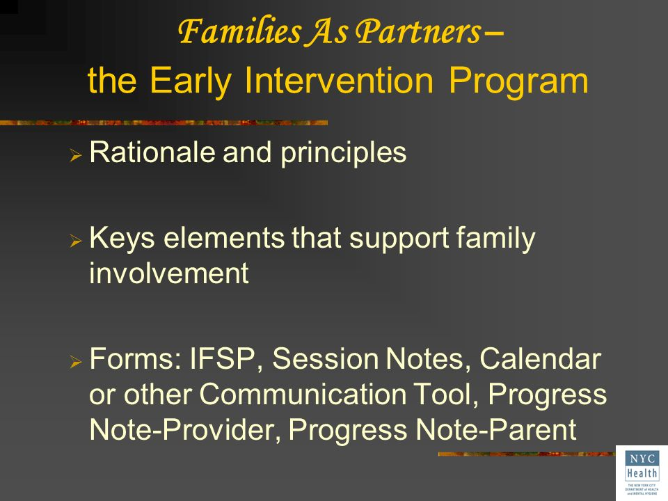 Families As Partners – the Early Intervention Program