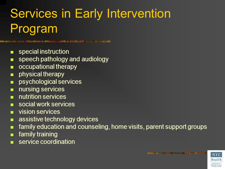 Services in Early Intervention Program