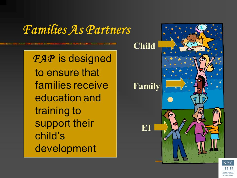 Families As Partners Child. FAP is designed to ensure that families receive education and training to support their child's development.