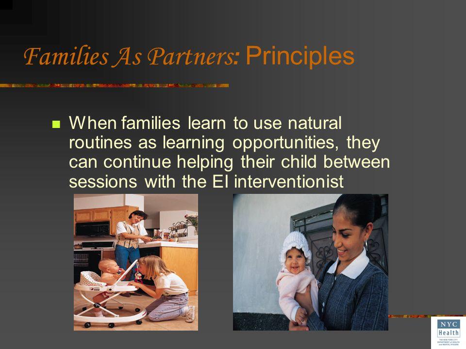 Families As Partners: Principles