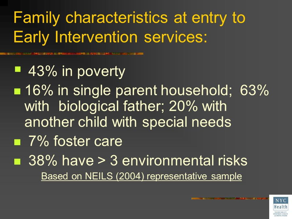 Family characteristics at entry to Early Intervention services: