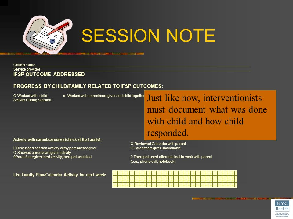 SESSION NOTE Child's name _________________________________________________________________________________________________________.