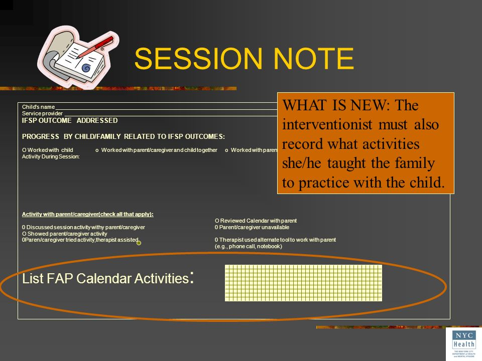 SESSION NOTE WHAT IS NEW: The interventionist must also record what activities she/he taught the family to practice with the child.