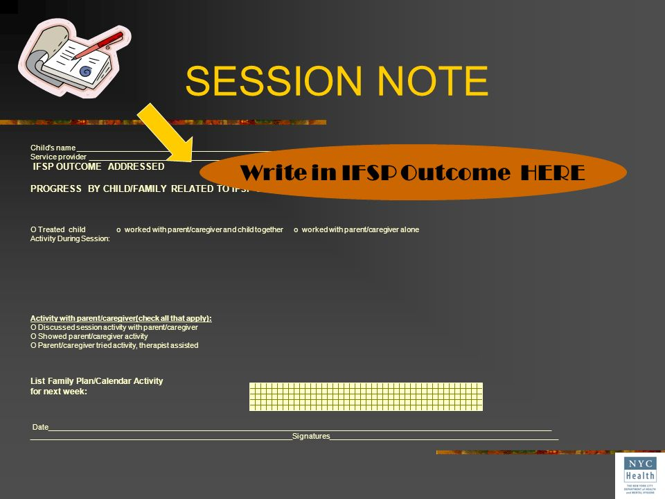 Write in IFSP Outcome HERE