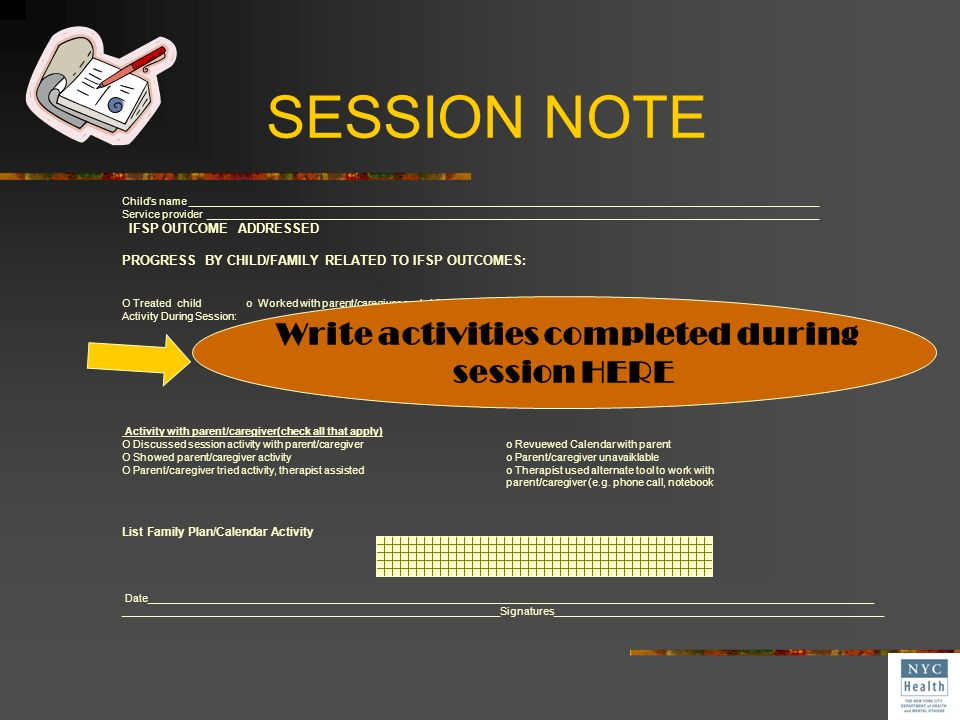 Write activities completed during