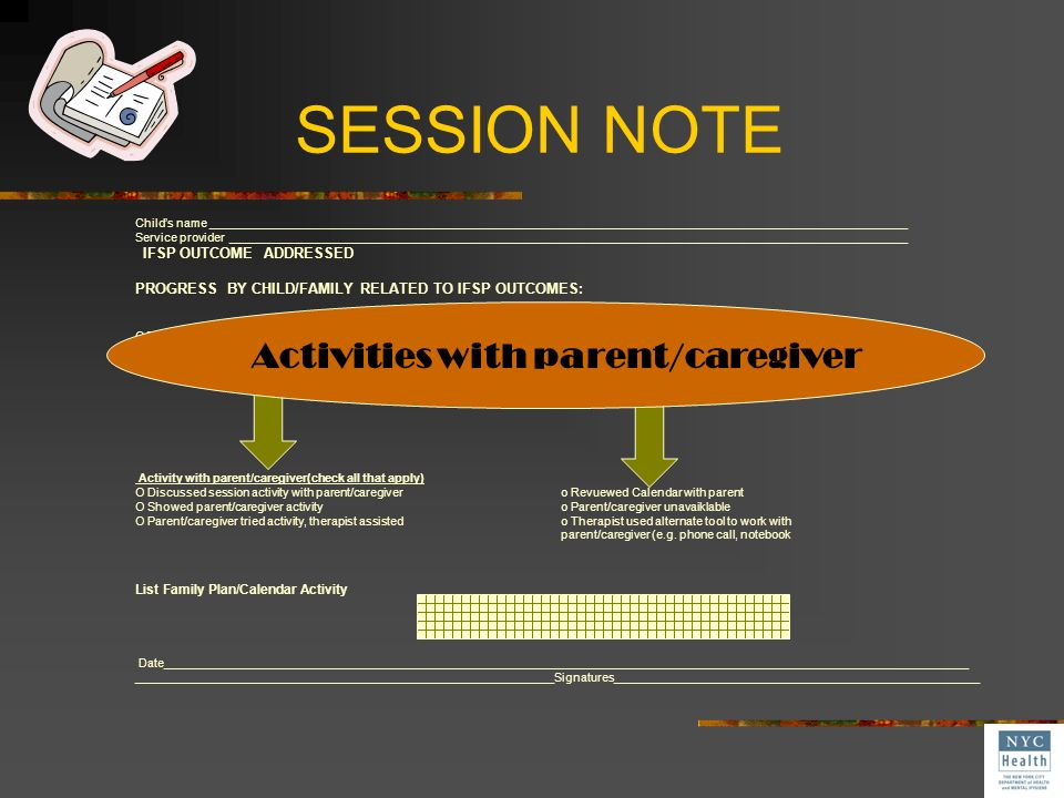 Activities with parent/caregiver
