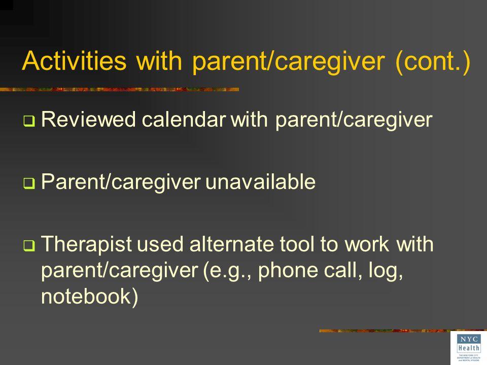 Activities with parent/caregiver (cont.)