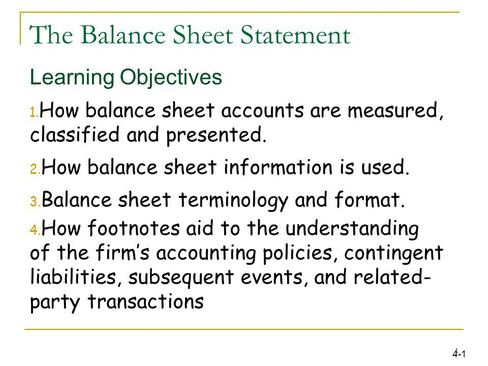 The Balance Sheet Statement  Ppt Download