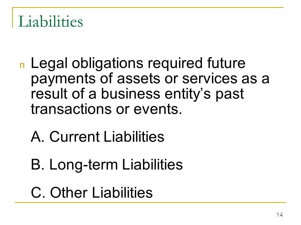 Liabilities Legal obligations required future payments of assets or services as a result of a business entity's past transactions or events.