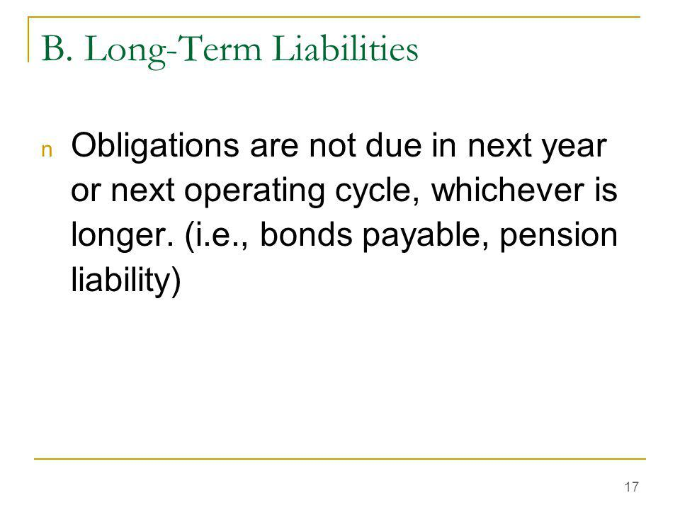 B. Long-Term Liabilities