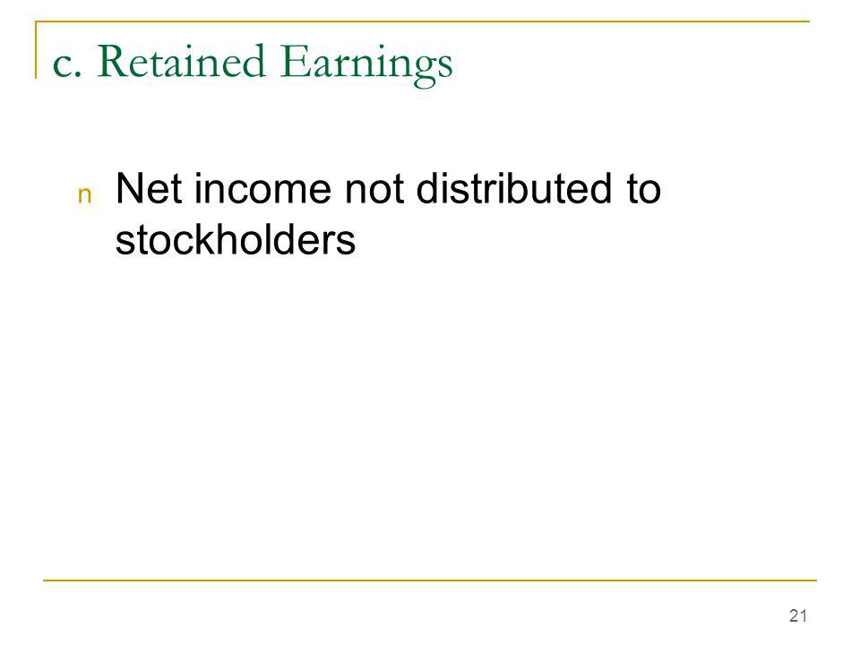 c. Retained Earnings Net income not distributed to stockholders