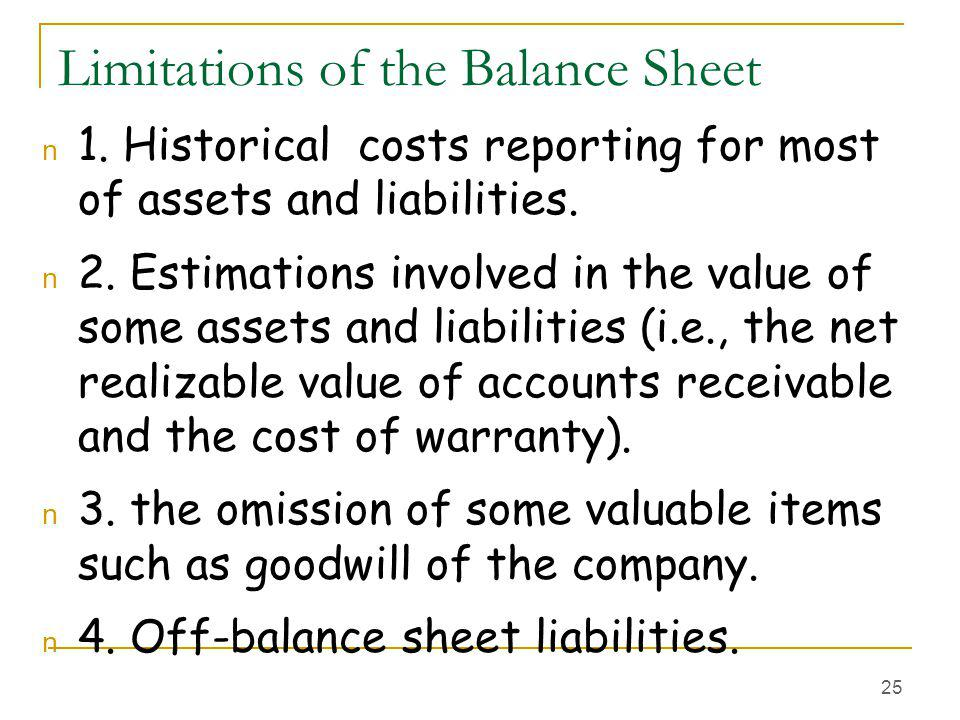 Limitations of the Balance Sheet