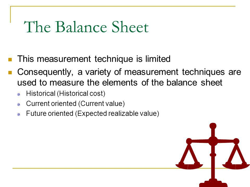The Balance Sheet This measurement technique is limited