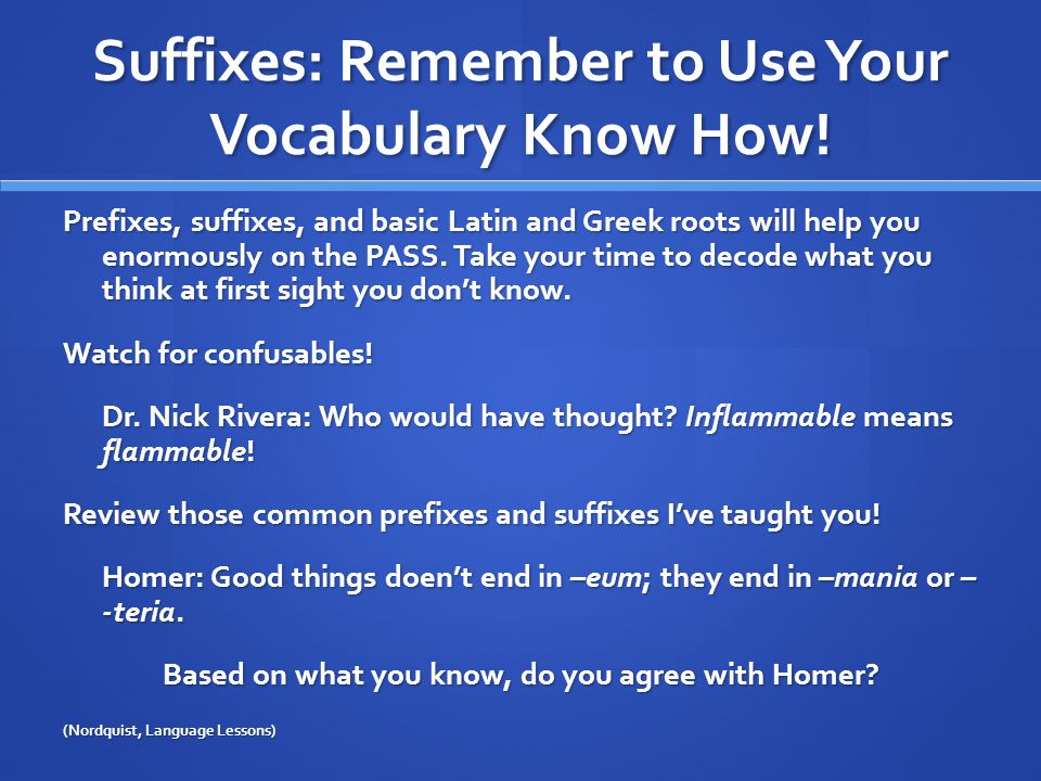Suffixes: Remember to Use Your Vocabulary Know How!