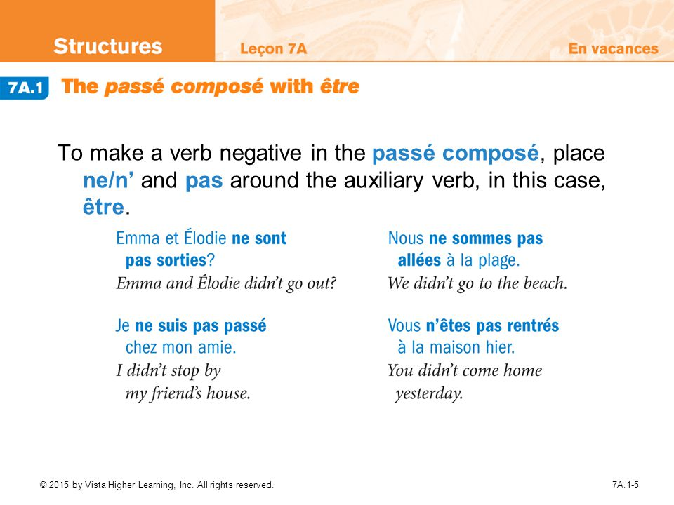To make a verb negative in the passé composé, place ne/n' and pas around the auxiliary verb, in this case, être.