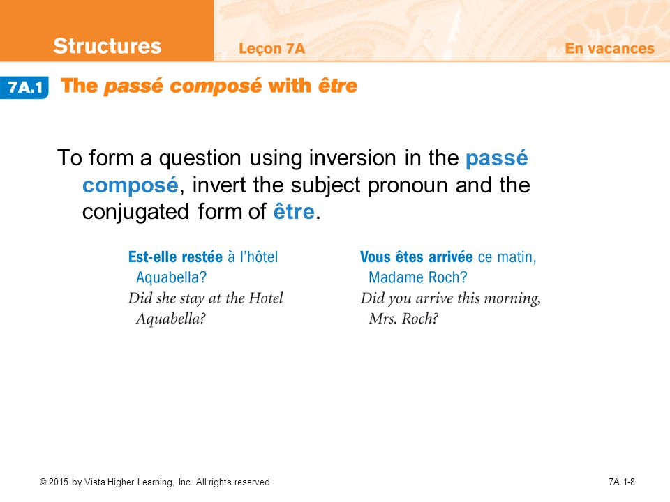 To form a question using inversion in the passé composé, invert the subject pronoun and the conjugated form of être.