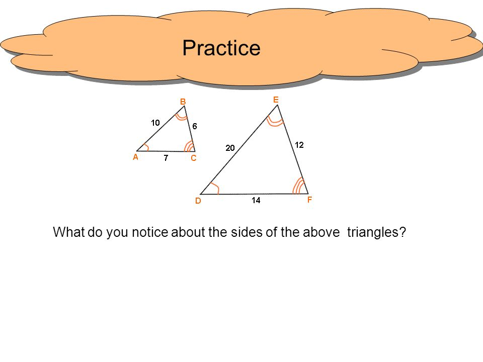 What do you notice about the sides of the above triangles
