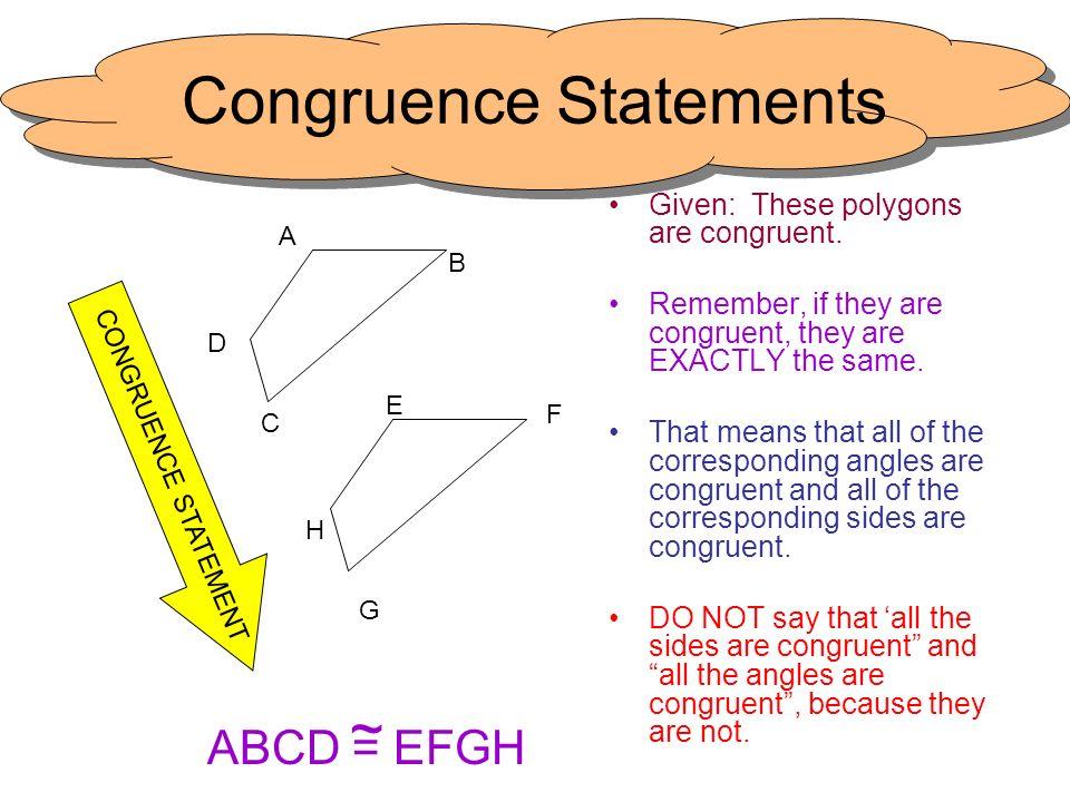 Congruence Statements