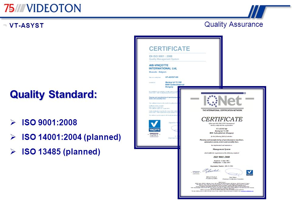 Quality Standard: ISO 9001:2008 ISO 14001:2004 (planned)